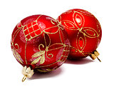 Two perfec red christmas balls isolated