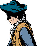 Side view of man in tricorn hat