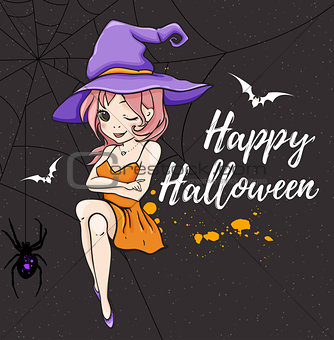 Cute young witch in violet hat