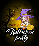 Halloween party design with witch