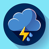 Vector flat color weather meteorology icon with long shadow