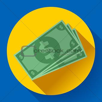 Flat icon of money vector