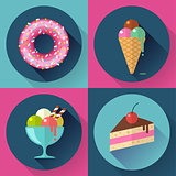 Cakes and sweets decorative icons set with donut cake icecream
