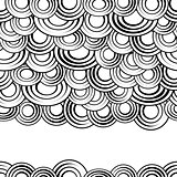 Black and white circles seamless pattern, vector background.Monochrome abstract clouds with gaps,creative  stylish simple backdrop for sites,cards or textiles.