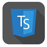 vector web development shield sign html5 javascript ts letters icon on grey badge with long shadow