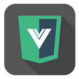 vector web development shield sign html5 javascript V letter symbol icon on grey badge with long shadow