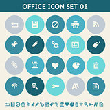 Office 2 icon set. Multicolored flat buttons