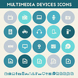 Multimedia icons. Multicolored flat buttons