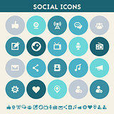 Social icon set. Multicolored flat buttons
