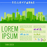 Vector infographics. Green illustration with downtown and