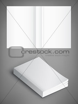 Blank of book cover, vector illustration. Template for your design.