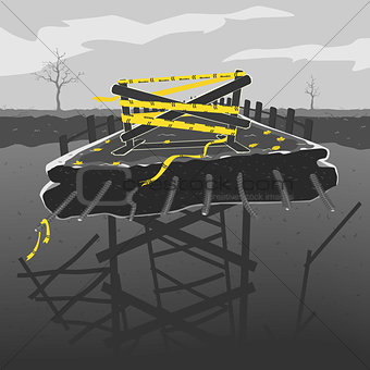 Broken Bridge Vector illustration