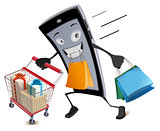Black Friday virtual shopping. Joyful smartphone runs with shopping basket and bags
