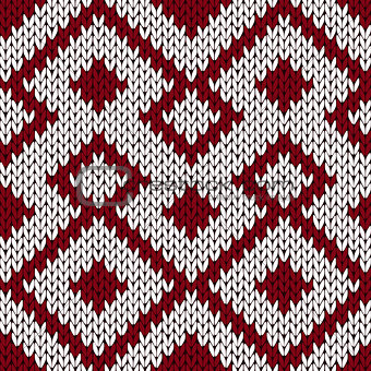 Knitting ornate seamless pattern in muted dark red and white col