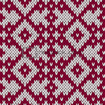 Knitting ornate seamless pattern in dark red and white colors