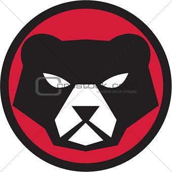 American Black Bear Head Circle Retro