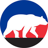 Grizzly Bear Walking Silhouette Circle Retro