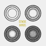 Set of black and white grainy dotwork circle elements. Retro halftone stippled backgrounds.