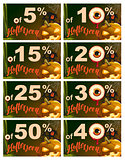 Set 5 to 50 percent discount Halloween. Sales pumpkin lantern, cobweb, old house and eye on dark background