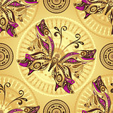 Seamless gold pattern with vintage butterflies
