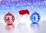 christmas balls and golf ball with santa red hat on bokeh background. 3D illustration
