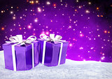 Christmas gifts in snow on bokeh purple background. 3D render.