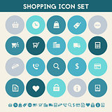 Shopping icon set. Multicolored flat buttons