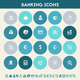 Banking icon set. Multicolored flat buttons