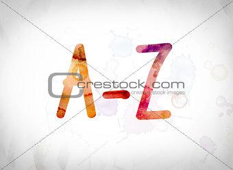 A-Z Concept Watercolor Word Art