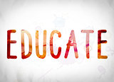 Educate Concept Watercolor Word Art