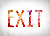Exit Concept Watercolor Word Art
