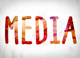 Media Concept Watercolor Word Art