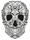 Black and white decoration human skull. Day of Dead