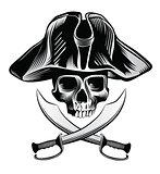 Skeleton head with crossed swords