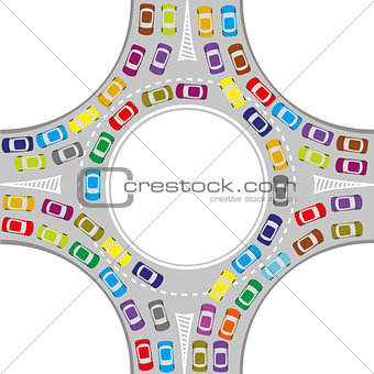 cars on the roundabout