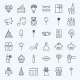 Line Birthday Celebration Icons