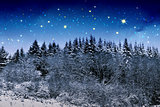 Beautiful night winter landscape in the mountains with the stars.