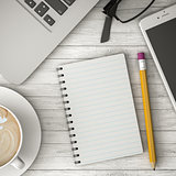 phone on the table, coffee and notebook 3d illustration