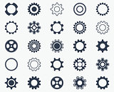 Collection of black gear wheel icons