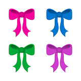 Gift ribbon bows in different colors