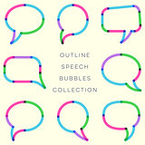 Modern outline colorful speech bubbles collection