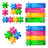 Vector infographic puzzle designs collection