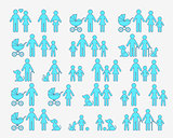 Outline vector family pictograms web icons