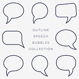 Simple black outline speech bubbles collection
