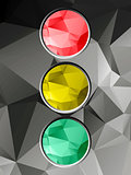 Traffic light on geometric background
