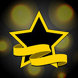Yellow and black star with banner background