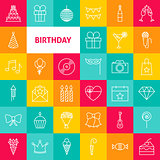 Vector Line Birthday Icons