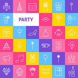 Vector Line Party Icons