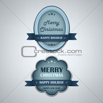Christmas blue vintage retro design style element