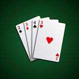 Four poker playing cards hand together